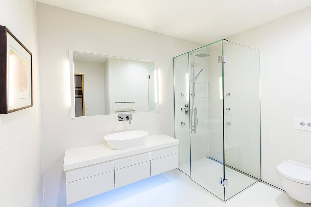 All white bathroom, interior photography Queenstown