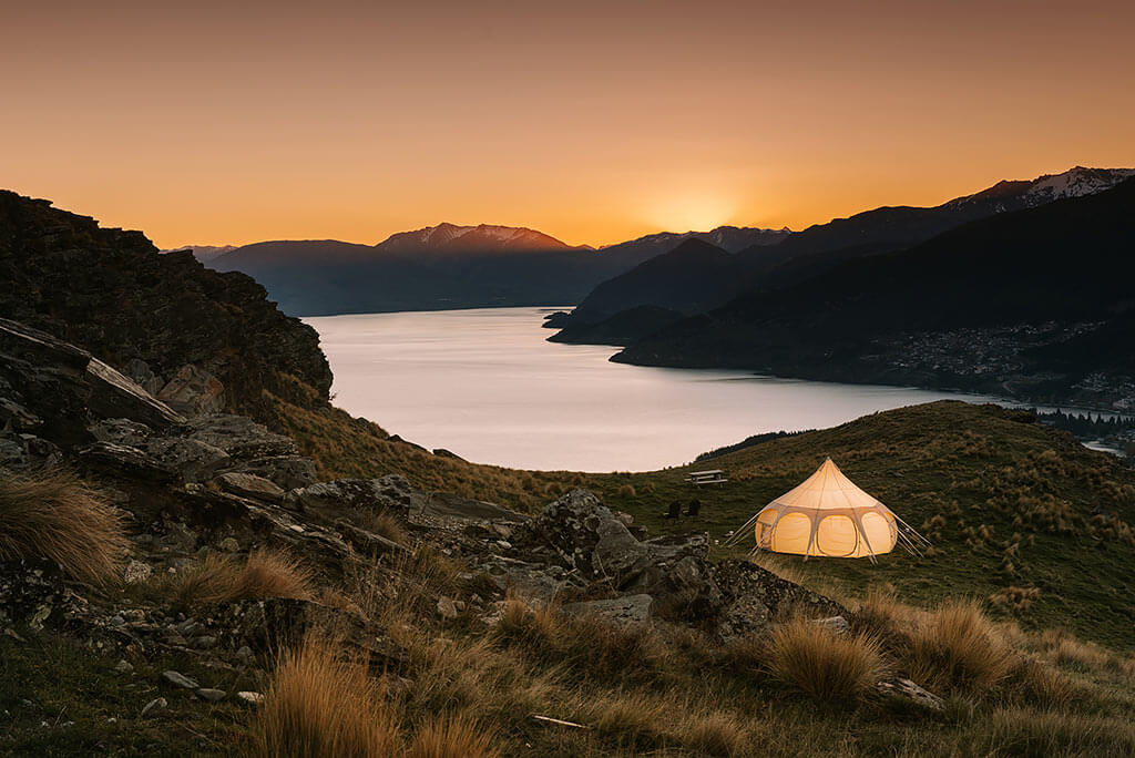 Glam camping Queenstown , commercial photography Queenstown