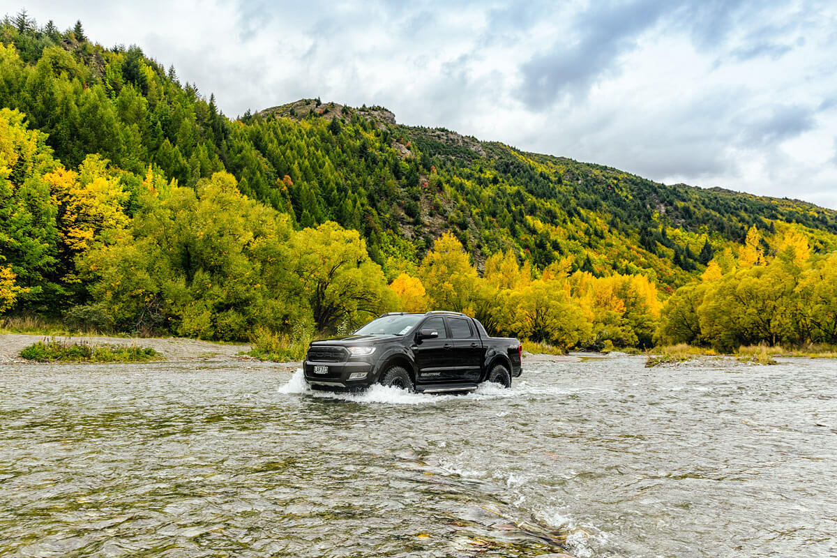 River running with Ford Ranger Wildtrack