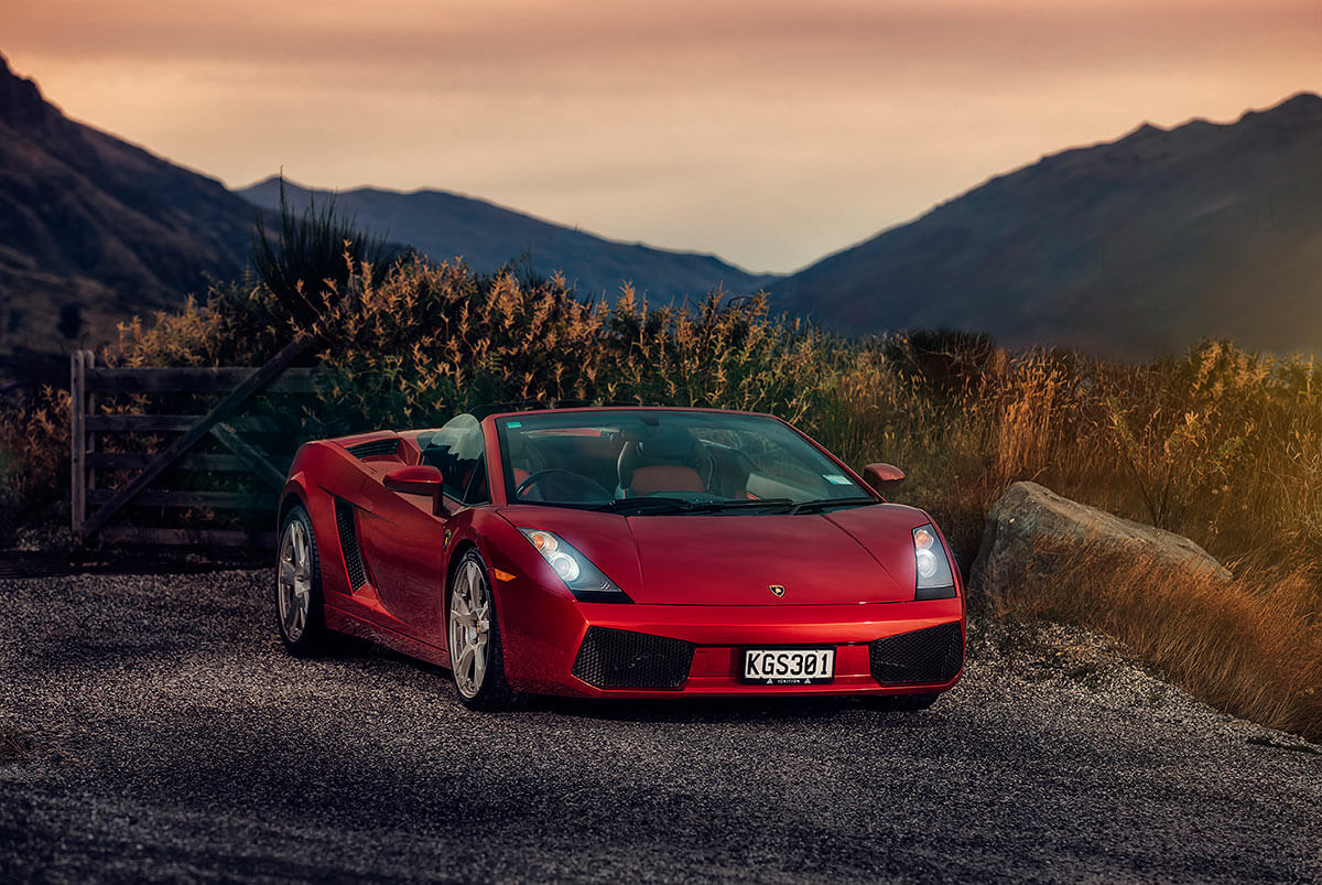 Car photography in Queenstown of Lamborghini Supercar